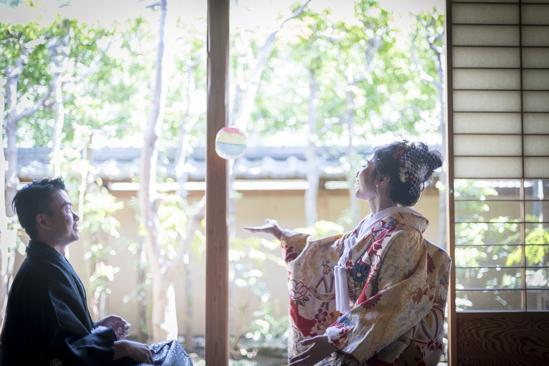 香川県高松市の小さな結婚式相談カウンターマリマリコンシェルジュの紋付袴と色打掛を着てのフォトウエディング